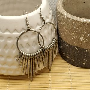 PinkDiva Boutique Jewelry - Mid Century Modern Style Antiqued Silver Earrings